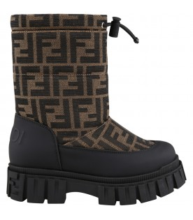 Black snow boots for kids with double FF