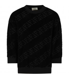 Black sweatshirt for kids with doubles FF