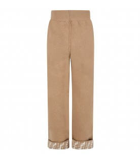 Beige trouser for girl with double FF