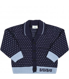 Blue cardigan for baby boy with doubles FF