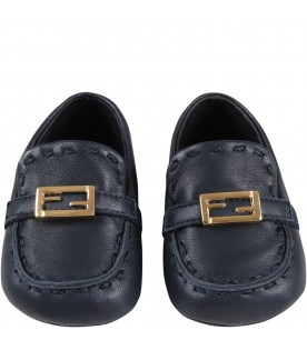 Blue moccasins for babykids with logo