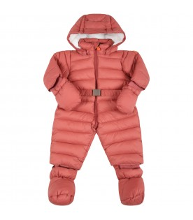 Pink overall for baby girl with iconic patch