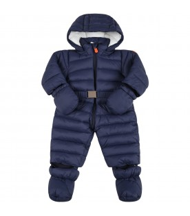 Blue overall for baby girl with iconic patch