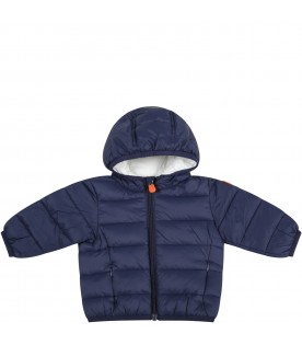 Blue jacket for baby boy with iconic patch