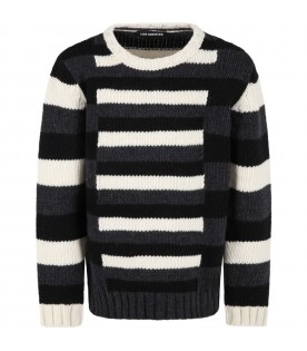 Multicolor sweater for boy with stripes