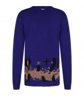 Black sweater for boy with embroideries