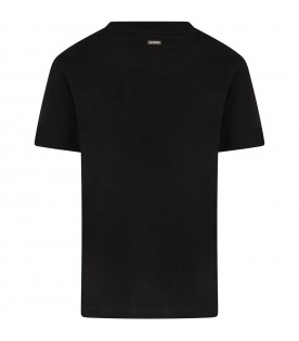 Black t-shirt for boy with white logo