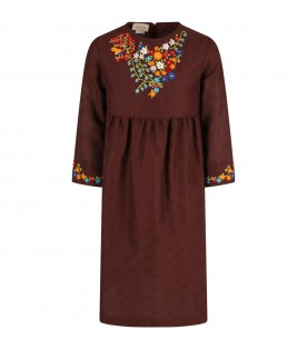 Brown dress for girl with colorful flowers
