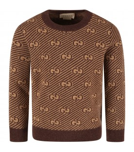 Beige sweater for kids with double GG