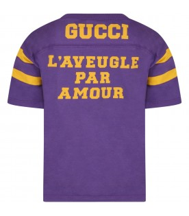 Purple t-shirt for kids with yellow logo