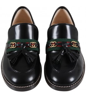 Black loafers for kids with double GG