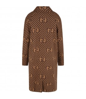 Beige coat for kids with doubles GG