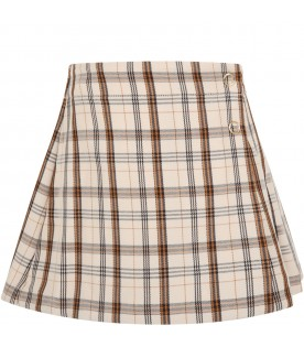 Beige skirt for girl with iconic checks