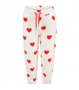 White sweatpants for kids with red hearts
