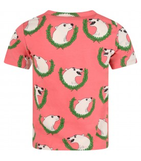 Pink T-shirt for kids with polar bears