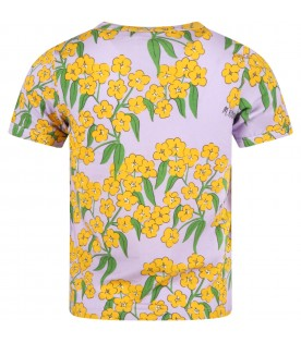 Purple T-shirt for girl with yellow flowers