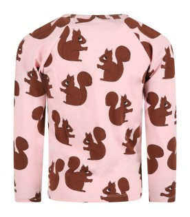 Pink T-shirt for kids with squirrels