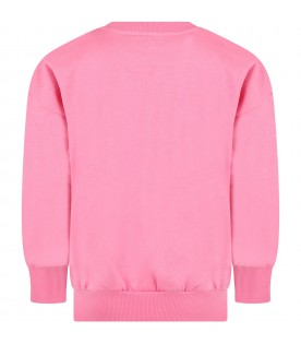 Pink sweatshirt for girl with flowers