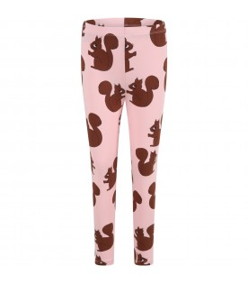 Pink leggings for girl with squirrels