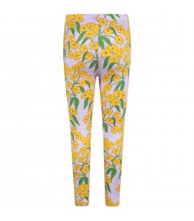 Purple leggings for girl with flowers