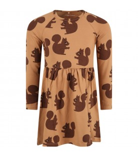 Beige dress for girl with squirrels