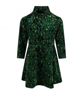 Green dress for girl with animalier print