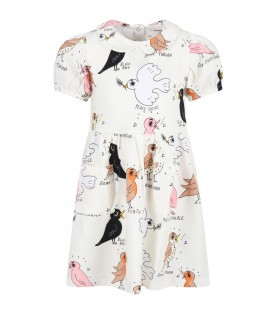 Ivory dress for girl with birds