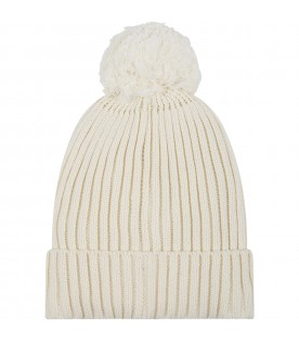 Ivory hat for girl with heart