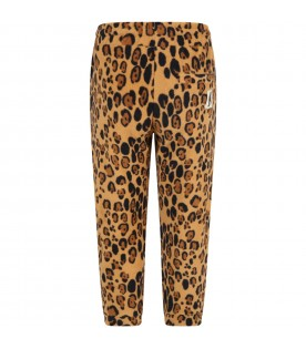 Beige sweatpants for kids with leopard print