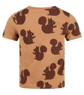 Brown T-shirt for kids with squirrels