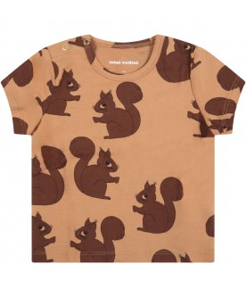Brown T-shirt for babykids with squirrels