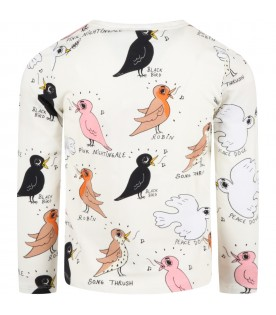 White T-shirt for kids with birds