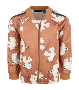 Brown sweatshirt for kids with white doves
