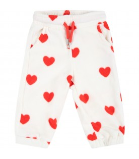 White sweatpants for babykids with red hearts