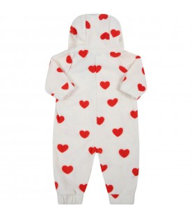White babygrow for babykids with red hearts