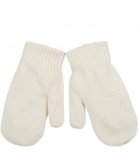 Ivory gloves for girl with heart