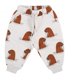 Grey sweatpant for babykids with walruses