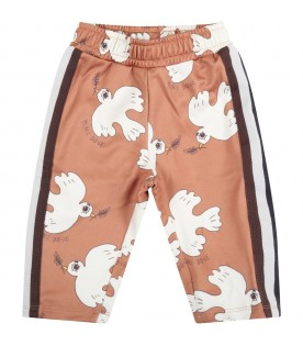 Brown trouser for baby girl with doves