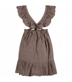 Brown dress for girl with rouche