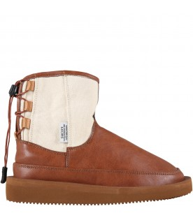 Brown boots for kids with logo