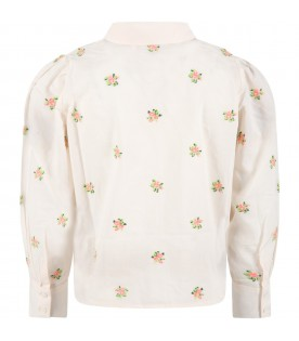 Pink shirt for girl with flowers