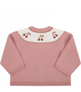 Pink cardigan for baby girl with cherries