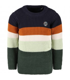 Multicolor sweater for boy with logo