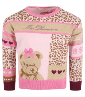 Multicolor sweater for girl with bear