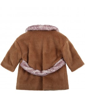 Brown faux fur for baby girl with logo