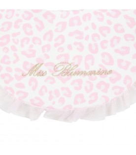 Multicolor bib for baby girl with gold logo