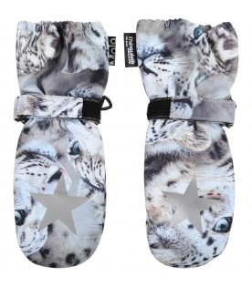 Multicolor snow gloves for kids with snowy leopards