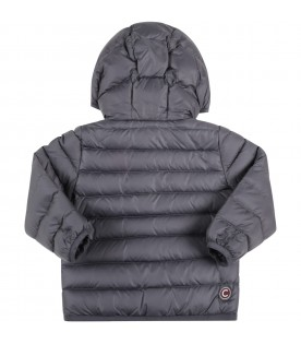 Grey jacket for baby boy with logo