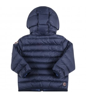 Blue jacket for baby boy with logo