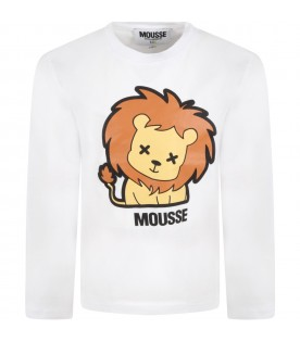 White t-shirt for kids with lion